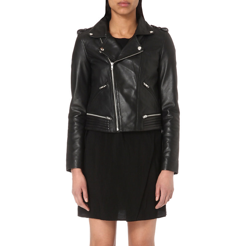 Basalt Leather Biker Jacket, Women's, Black - pattern: plain; style: biker; collar: asymmetric biker; fit: slim fit; predominant colour: black; occasions: casual; length: standard; fibres: leather - 100%; sleeve length: long sleeve; sleeve style: standard; texture group: leather; collar break: medium; pattern type: fabric; season: s/s 2016; wardrobe: basic