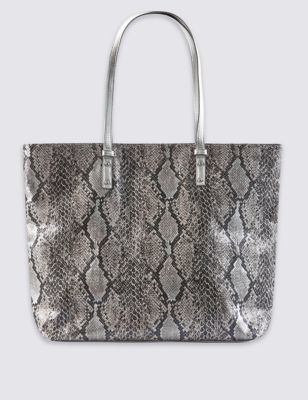 Pure Cotton Faux Snakeskin Print Shopper Bag - secondary colour: silver; predominant colour: mid grey; occasions: casual, creative work; type of pattern: standard; style: tote; length: shoulder (tucks under arm); size: oversized; material: faux leather; pattern: animal print; finish: plain; season: s/s 2016; wardrobe: highlight