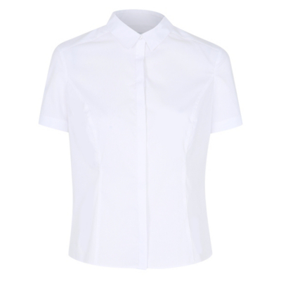 Tailored Shirt White - neckline: shirt collar/peter pan/zip with opening; pattern: plain; style: shirt; predominant colour: white; occasions: casual, creative work; length: standard; fibres: polyester/polyamide - mix; fit: tailored/fitted; sleeve length: short sleeve; sleeve style: standard; pattern type: fabric; texture group: other - light to midweight; season: s/s 2016; wardrobe: basic