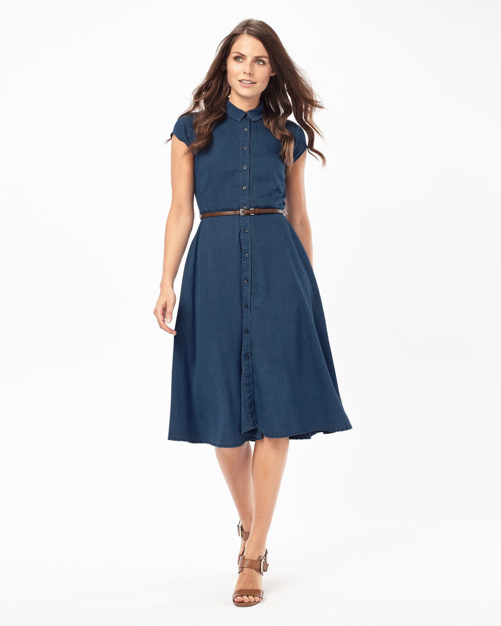 Sophie Denim Chambray Dress - style: shirt; neckline: shirt collar/peter pan/zip with opening; sleeve style: capped; pattern: plain; waist detail: belted waist/tie at waist/drawstring; predominant colour: navy; occasions: casual, creative work; length: on the knee; fit: fitted at waist & bust; fibres: cotton - 100%; hip detail: subtle/flattering hip detail; sleeve length: short sleeve; texture group: denim; pattern type: fabric; season: s/s 2016; wardrobe: basic