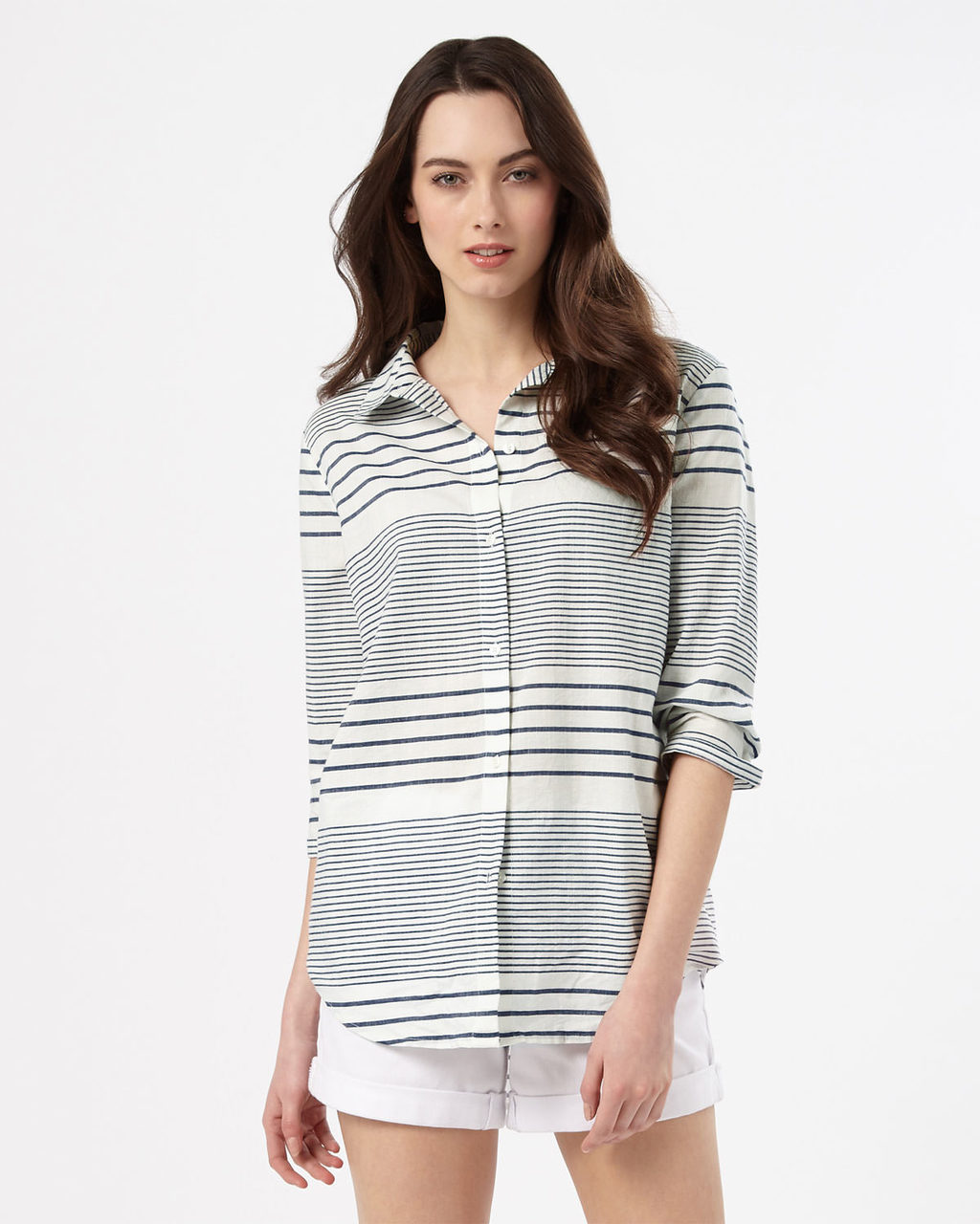 Montana Stripe Shirt - neckline: shirt collar/peter pan/zip with opening; pattern: horizontal stripes; style: shirt; secondary colour: white; predominant colour: black; occasions: casual, creative work; length: standard; fibres: cotton - 100%; fit: body skimming; sleeve length: 3/4 length; sleeve style: standard; pattern type: fabric; texture group: other - light to midweight; pattern size: big & busy (top); season: s/s 2016; wardrobe: basic