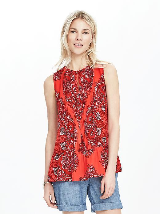 Paisley Pintuck Tank Fire Coral - sleeve style: sleeveless; style: vest top; pattern: paisley; predominant colour: true red; secondary colour: mid grey; occasions: casual; length: standard; fibres: polyester/polyamide - 100%; fit: body skimming; neckline: crew; sleeve length: sleeveless; pattern type: fabric; texture group: other - light to midweight; multicoloured: multicoloured; season: s/s 2016; wardrobe: highlight
