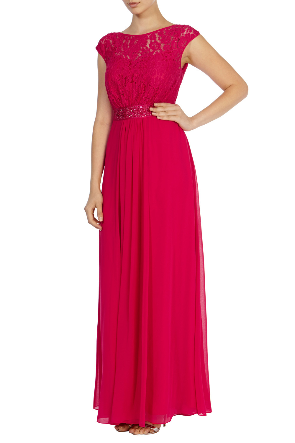Lori Lee Lace Maxi Dress - sleeve style: capped; pattern: plain; style: maxi dress; bust detail: sheer at bust; predominant colour: hot pink; occasions: evening; length: floor length; fit: body skimming; fibres: polyester/polyamide - 100%; neckline: crew; sleeve length: short sleeve; pattern type: fabric; texture group: other - light to midweight; embellishment: lace; season: s/s 2016; wardrobe: event