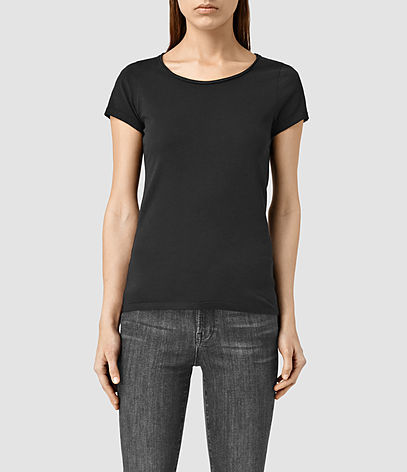 Vetten Tee - neckline: round neck; sleeve style: capped; pattern: plain; style: t-shirt; predominant colour: black; occasions: casual; length: standard; fibres: cotton - stretch; fit: body skimming; sleeve length: short sleeve; texture group: jersey - clingy; pattern type: fabric; season: s/s 2016