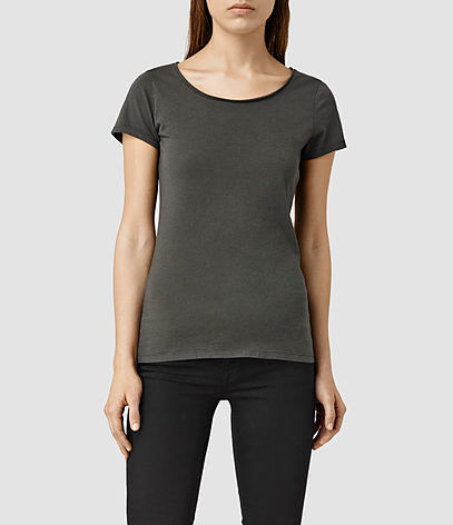 Vetten Tee - neckline: round neck; pattern: plain; style: t-shirt; predominant colour: charcoal; occasions: casual; length: standard; fibres: cotton - stretch; fit: body skimming; sleeve length: short sleeve; sleeve style: standard; texture group: jersey - clingy; pattern type: fabric; season: s/s 2016; wardrobe: basic