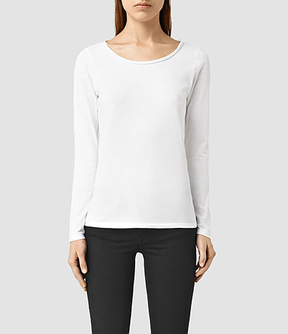 Vetten Long Sleeve Tee - neckline: round neck; pattern: plain; style: t-shirt; predominant colour: white; occasions: casual; length: standard; fibres: cotton - stretch; fit: body skimming; sleeve length: long sleeve; sleeve style: standard; pattern type: fabric; texture group: jersey - stretchy/drapey; season: s/s 2016