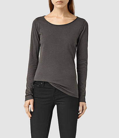 Vetten Long Sleeve Tee - neckline: round neck; pattern: plain; style: t-shirt; predominant colour: charcoal; occasions: casual; length: standard; fibres: cotton - stretch; fit: body skimming; sleeve length: long sleeve; sleeve style: standard; pattern type: fabric; texture group: jersey - stretchy/drapey; season: s/s 2016; wardrobe: basic