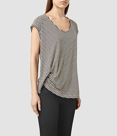Moon Bar V Tee - neckline: round neck; pattern: horizontal stripes; style: t-shirt; predominant colour: black; occasions: casual; length: standard; fibres: cotton - stretch; fit: body skimming; sleeve length: short sleeve; sleeve style: standard; pattern type: fabric; pattern size: standard; texture group: jersey - stretchy/drapey; season: s/s 2016; wardrobe: basic