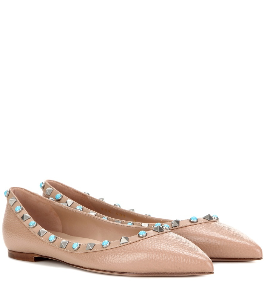 Garavani Rockstud Rolling Leather Ballerinas - predominant colour: nude; occasions: casual; material: leather; heel height: flat; embellishment: studs; toe: pointed toe; style: ballerinas / pumps; finish: patent; pattern: plain; season: s/s 2016; wardrobe: basic