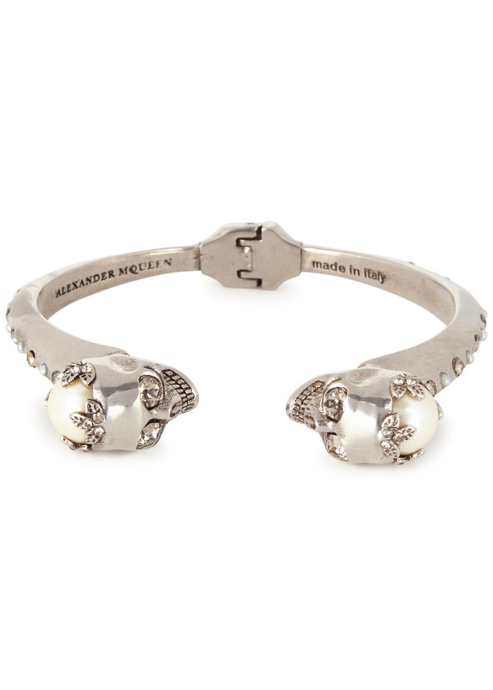Twin Skull Embellished Silver Bracelet - predominant colour: silver; occasions: evening, occasion; style: cuff; size: standard; material: chain/metal; finish: plain; embellishment: pearls; season: s/s 2016; wardrobe: event