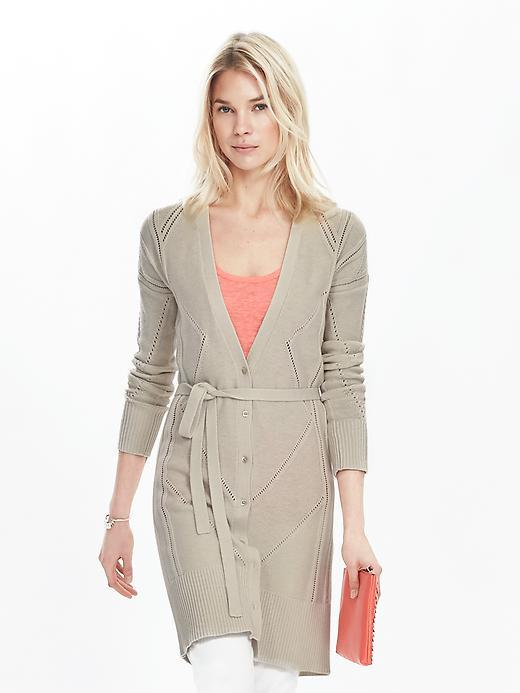 Pointelle Long Cardigan Cocoon - neckline: low v-neck; pattern: plain; hip detail: draws attention to hips; length: on the knee; predominant colour: stone; occasions: casual; style: standard; fibres: cotton - mix; fit: slim fit; waist detail: belted waist/tie at waist/drawstring; sleeve length: long sleeve; sleeve style: standard; texture group: knits/crochet; pattern type: fabric; season: s/s 2016; wardrobe: basic