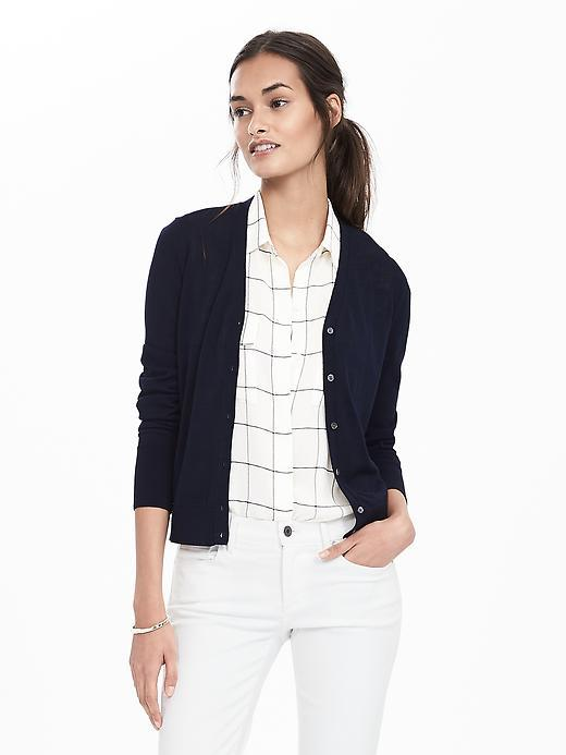 Sheer Vee Cardigan Navy - neckline: v-neck; pattern: plain; style: belted; predominant colour: navy; occasions: casual; length: standard; fibres: cotton - mix; fit: slim fit; sleeve length: long sleeve; sleeve style: standard; texture group: knits/crochet; pattern type: fabric; season: s/s 2016; wardrobe: basic