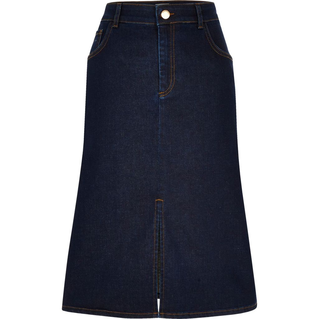 Womens Dark Blue Denim Midi Skirt - length: below the knee; pattern: plain; fit: loose/voluminous; waist: high rise; predominant colour: denim; occasions: casual; style: a-line; fibres: cotton - stretch; texture group: denim; pattern type: fabric; season: s/s 2016; wardrobe: basic