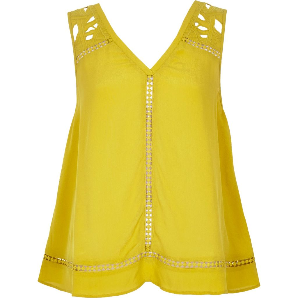 Womens Green Yellow Lace Tank Top - neckline: low v-neck; pattern: plain; sleeve style: sleeveless; predominant colour: yellow; occasions: casual; length: standard; style: top; fibres: cotton - 100%; fit: loose; sleeve length: sleeveless; pattern type: fabric; texture group: other - light to midweight; embellishment: lace; season: s/s 2016; wardrobe: highlight