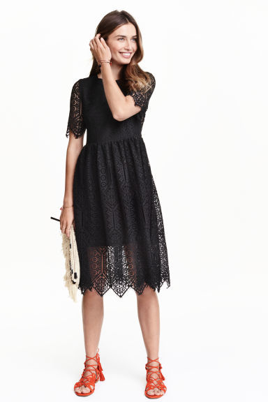Lace Dress - length: below the knee; predominant colour: black; occasions: evening, occasion; fit: fitted at waist & bust; style: fit & flare; fibres: polyester/polyamide - 100%; neckline: crew; hip detail: soft pleats at hip/draping at hip/flared at hip; sleeve length: half sleeve; sleeve style: standard; texture group: lace; pattern type: fabric; pattern size: standard; pattern: patterned/print; season: s/s 2016
