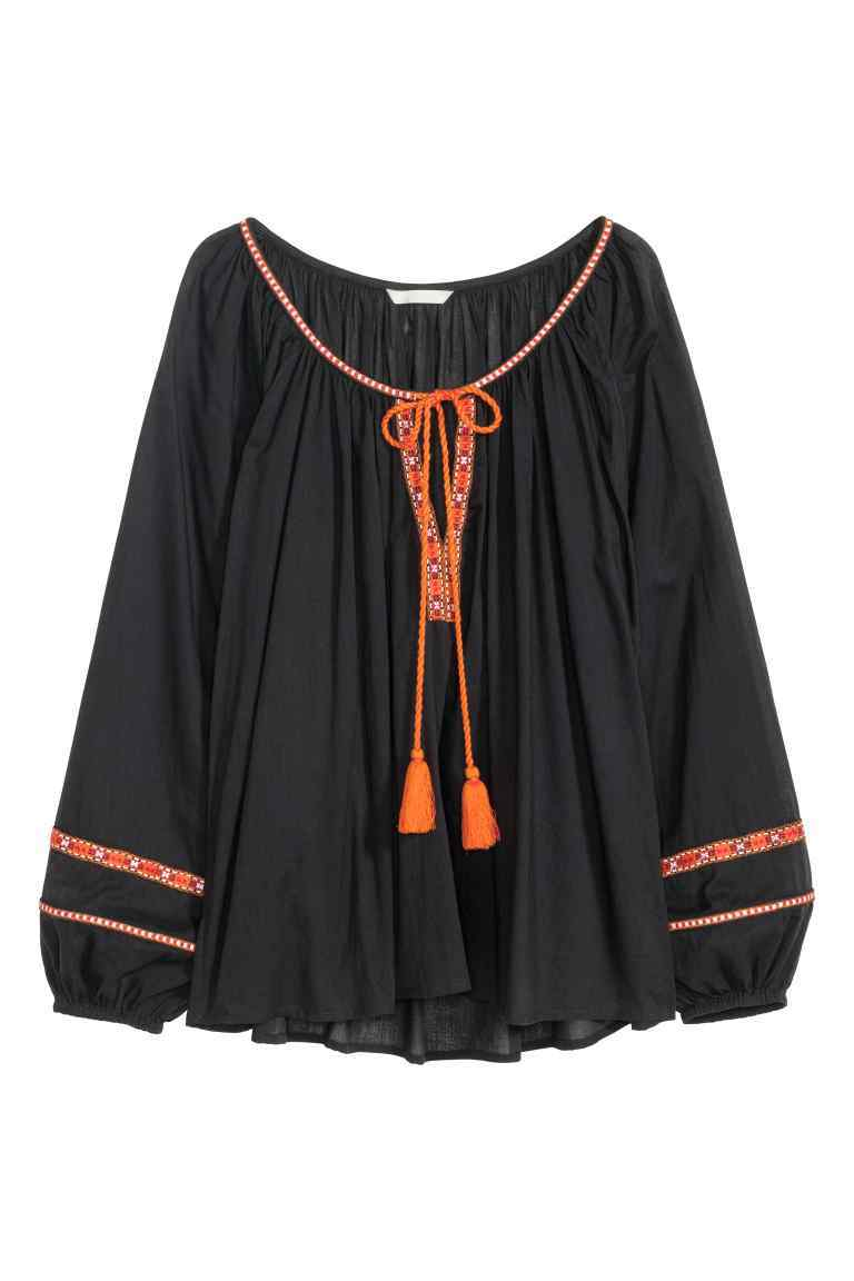 Wide Cotton Blouse - neckline: round neck; pattern: plain; length: below the bottom; secondary colour: bright orange; predominant colour: black; occasions: casual, holiday; fibres: cotton - 100%; fit: loose; style: gypsy/peasant; sleeve length: long sleeve; sleeve style: standard; pattern type: fabric; texture group: other - light to midweight; embellishment: embroidered; season: s/s 2016; wardrobe: highlight