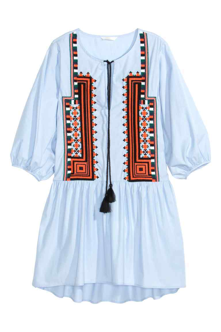 Embroidered Cotton Dress - length: mid thigh; neckline: round neck; fit: loose; style: drop waist; predominant colour: pale blue; secondary colour: terracotta; occasions: casual, holiday; fibres: cotton - 100%; sleeve length: 3/4 length; sleeve style: standard; texture group: cotton feel fabrics; pattern type: fabric; pattern size: standard; pattern: patterned/print; season: s/s 2016; wardrobe: highlight; embellishment location: bust