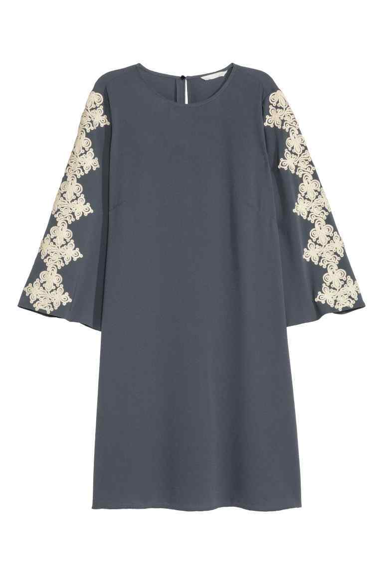 Embroidered Dress - style: a-line; length: mid thigh; neckline: round neck; fit: loose; secondary colour: ivory/cream; predominant colour: charcoal; occasions: casual; sleeve length: 3/4 length; sleeve style: standard; pattern type: fabric; pattern size: standard; pattern: patterned/print; texture group: other - light to midweight; embellishment: embroidered; fibres: viscose/rayon - mix; season: s/s 2016; wardrobe: highlight; embellishment location: sleeve/cuff