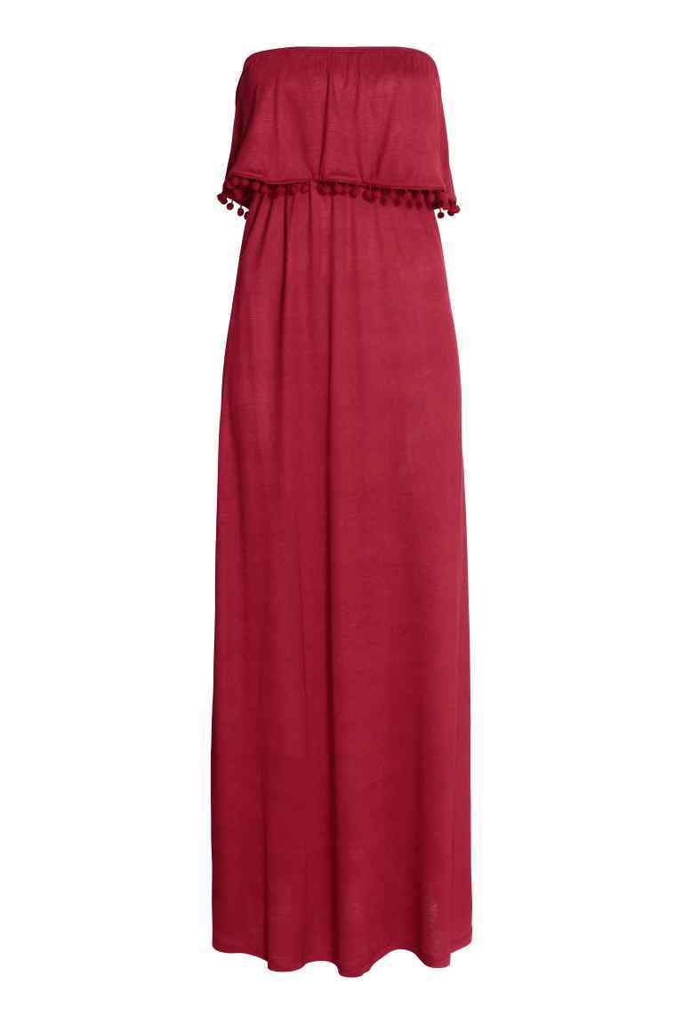 Bandeau Dress - neckline: strapless (straight/sweetheart); sleeve style: spaghetti straps; fit: fitted at waist; pattern: plain; style: maxi dress; length: ankle length; occasions: casual; fibres: polyester/polyamide - stretch; sleeve length: sleeveless; pattern type: fabric; texture group: jersey - stretchy/drapey; predominant colour: raspberry; season: s/s 2016