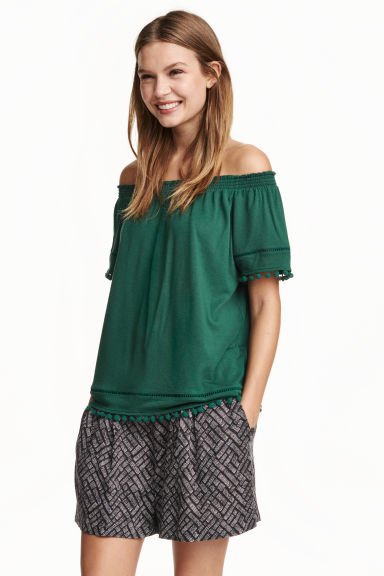 Off The Shoulder Top - neckline: off the shoulder; pattern: plain; predominant colour: emerald green; occasions: casual; length: standard; style: top; fibres: cotton - mix; fit: loose; sleeve length: short sleeve; sleeve style: standard; pattern type: fabric; texture group: other - light to midweight; season: s/s 2016; wardrobe: highlight