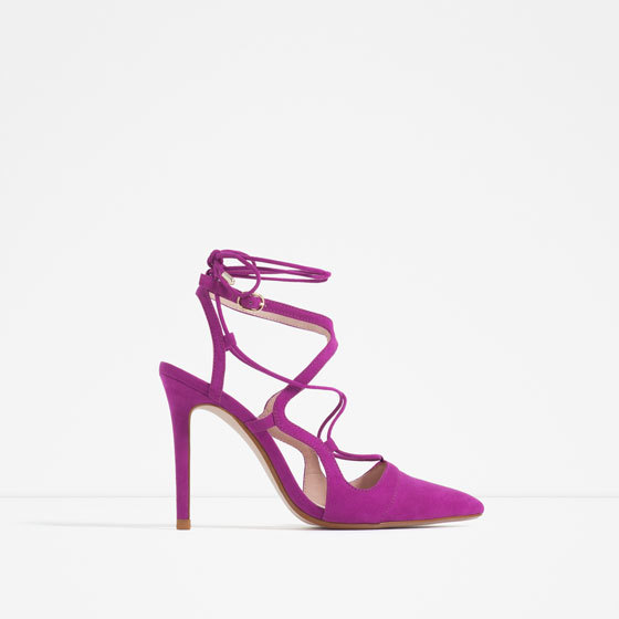 High Heel Lace Up Shoes - predominant colour: hot pink; occasions: evening, occasion; material: suede; heel height: high; ankle detail: ankle tie; heel: stiletto; toe: pointed toe; style: slingbacks; finish: plain; pattern: plain; season: s/s 2016; wardrobe: event