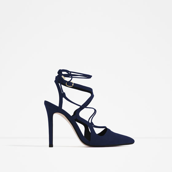 High Heel Lace Up Shoes - predominant colour: navy; occasions: evening, occasion; material: suede; heel height: high; ankle detail: ankle tie; heel: stiletto; toe: pointed toe; style: courts; finish: plain; pattern: plain; season: s/s 2016; wardrobe: event