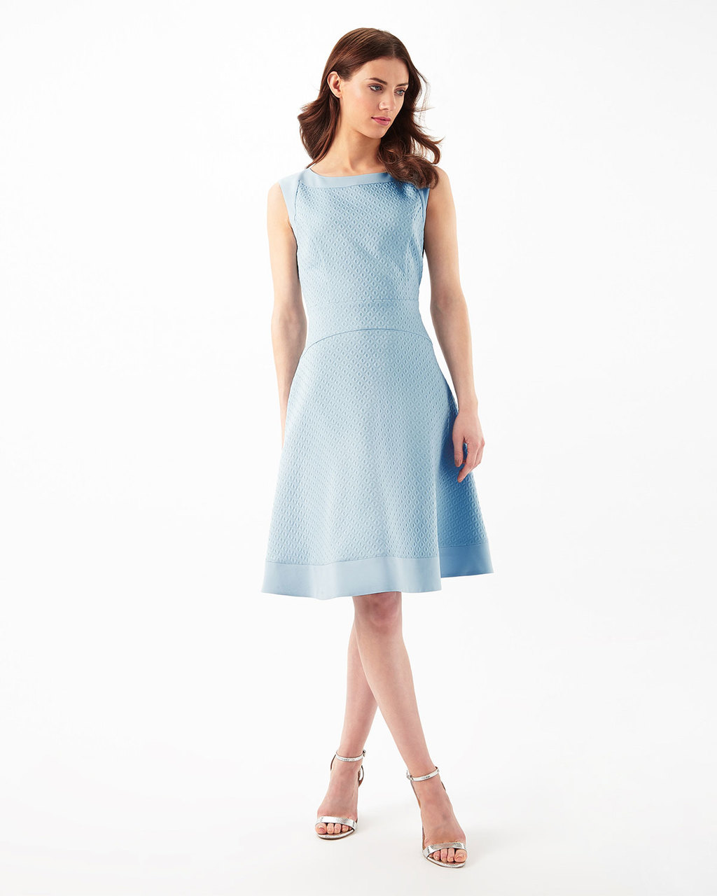 Francine Dress - pattern: plain; sleeve style: sleeveless; predominant colour: pale blue; length: on the knee; fit: fitted at waist & bust; style: fit & flare; fibres: cotton - mix; occasions: occasion; neckline: crew; sleeve length: sleeveless; pattern type: fabric; texture group: other - light to midweight; season: s/s 2016