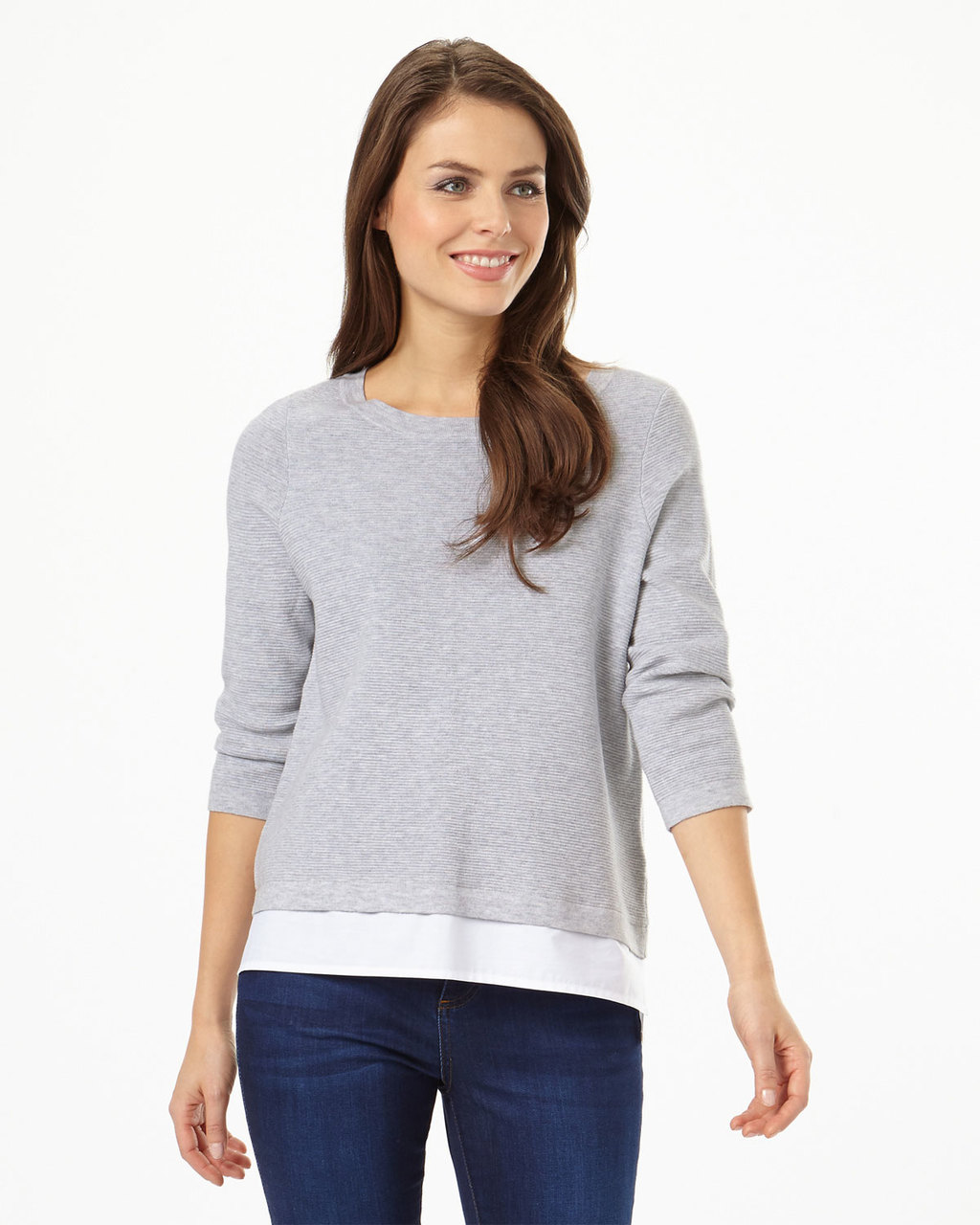 Rufina Ripple Stitch Knit - pattern: plain; style: standard; predominant colour: mid grey; occasions: casual; length: standard; fibres: acrylic - mix; fit: slim fit; neckline: crew; sleeve length: long sleeve; sleeve style: standard; texture group: knits/crochet; pattern type: fabric; season: s/s 2016; wardrobe: basic