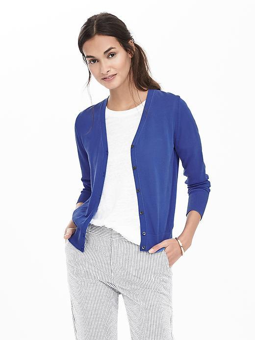 Sheer Vee Cardigan Riviera Blue - neckline: v-neck; pattern: plain; predominant colour: royal blue; occasions: casual; length: standard; style: standard; fibres: cotton - mix; fit: slim fit; sleeve length: long sleeve; sleeve style: standard; texture group: knits/crochet; pattern type: fabric; season: s/s 2016