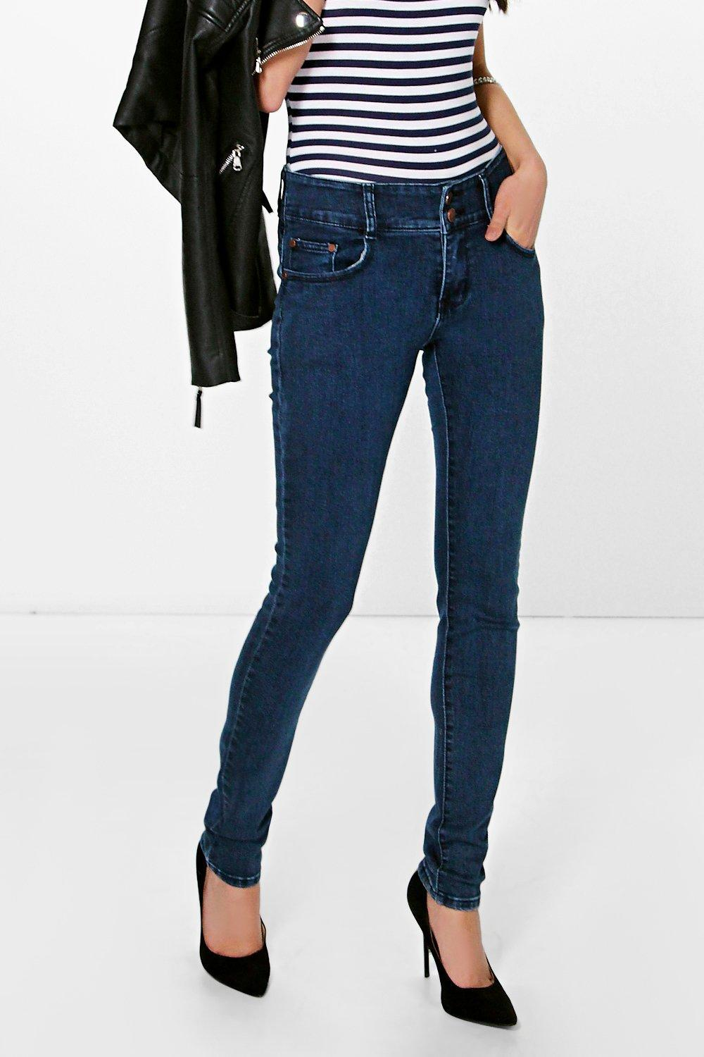 High Rise Skinny Jeans Indigo - style: skinny leg; length: standard; pattern: plain; pocket detail: traditional 5 pocket; waist: mid/regular rise; predominant colour: navy; occasions: casual; fibres: cotton - 100%; jeans detail: dark wash; texture group: denim; pattern type: fabric; season: s/s 2016; wardrobe: basic