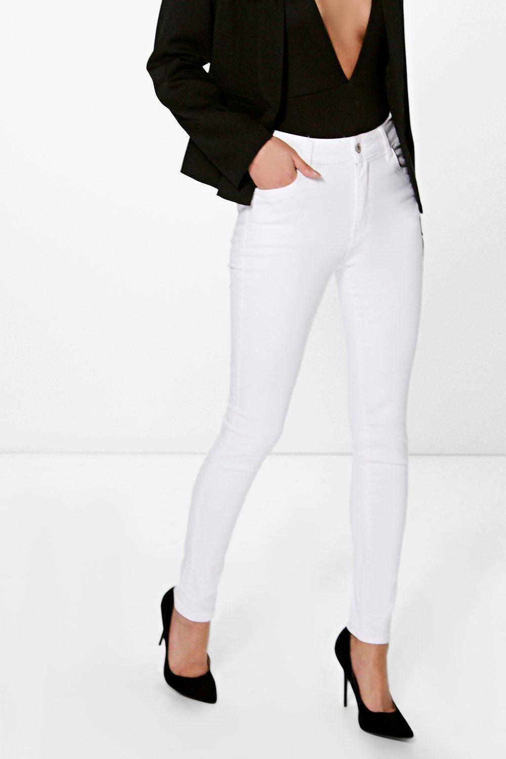 Mid Rise Skinny Jeans White - style: skinny leg; length: standard; pattern: plain; waist: high rise; pocket detail: traditional 5 pocket; predominant colour: white; occasions: casual; fibres: cotton - stretch; texture group: denim; pattern type: fabric; season: s/s 2016; wardrobe: highlight