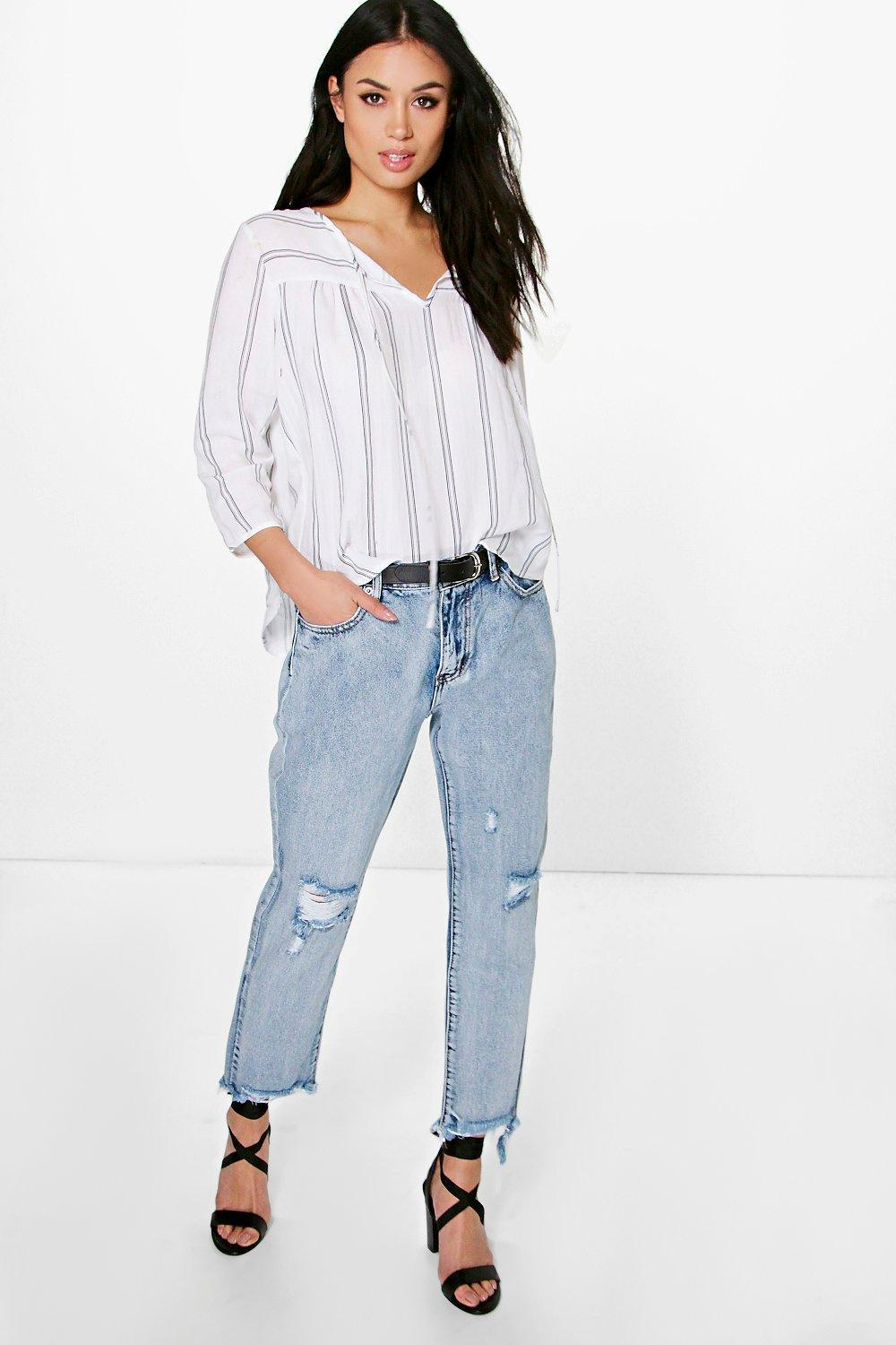 Fray Hem Distressed Mom Jeans Blue - style: boyfriend; pattern: plain; pocket detail: traditional 5 pocket; waist: mid/regular rise; predominant colour: pale blue; occasions: casual; length: ankle length; fibres: cotton - 100%; texture group: denim; pattern type: fabric; jeans detail: rips; season: s/s 2016; wardrobe: basic