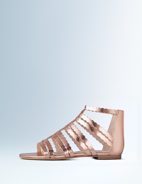Gladys Gladiator Sandal Rose Gold Mirror Metallic Women, Rose Gold Mirror Metallic - predominant colour: gold; occasions: casual, holiday; material: leather; heel height: flat; ankle detail: ankle strap; heel: standard; toe: open toe/peeptoe; style: strappy; finish: metallic; pattern: plain; season: s/s 2016; wardrobe: basic