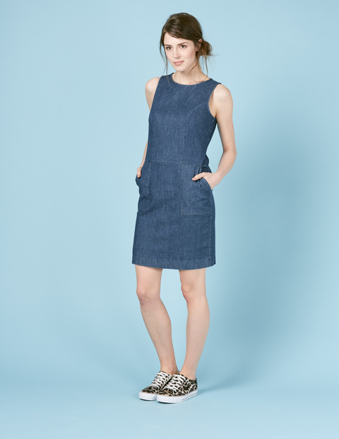 Chino Tunic Dress Vintage Denim Women, Vintage Denim - style: tunic; pattern: plain; sleeve style: sleeveless; predominant colour: denim; occasions: casual; length: just above the knee; fit: body skimming; fibres: cotton - stretch; neckline: crew; sleeve length: sleeveless; texture group: denim; pattern type: fabric; season: s/s 2016