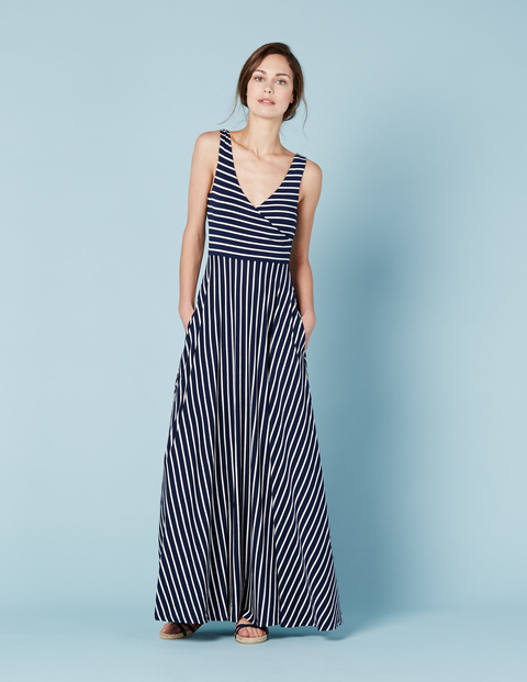 Full Skirt Maxi Dress Navy/Ivory Stripe Women, Navy/Ivory Stripe - style: faux wrap/wrap; neckline: low v-neck; sleeve style: sleeveless; pattern: striped; secondary colour: white; predominant colour: navy; occasions: casual; length: floor length; fit: body skimming; fibres: viscose/rayon - stretch; sleeve length: sleeveless; pattern type: fabric; texture group: jersey - stretchy/drapey; multicoloured: multicoloured; season: s/s 2016; wardrobe: highlight
