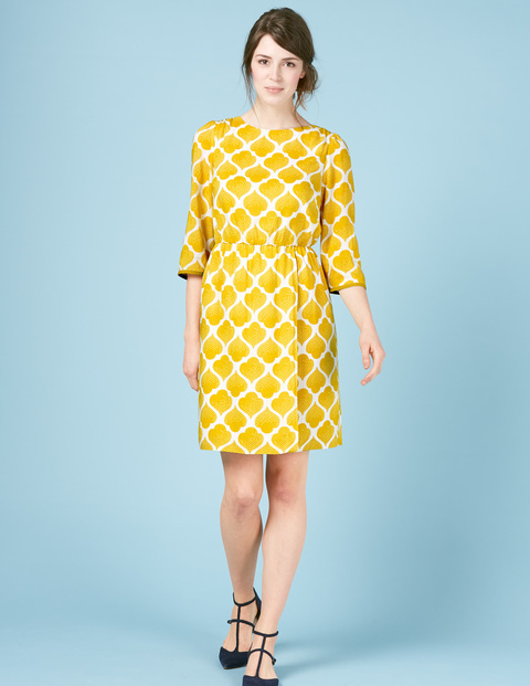 Dolly Summer Day Dress Ivory, Yellow Dotty Tile - style: shift; fit: tailored/fitted; secondary colour: white; predominant colour: yellow; occasions: casual; length: just above the knee; fibres: viscose/rayon - 100%; neckline: crew; sleeve length: 3/4 length; sleeve style: standard; pattern type: fabric; pattern: patterned/print; texture group: other - light to midweight; multicoloured: multicoloured; season: s/s 2016; wardrobe: highlight