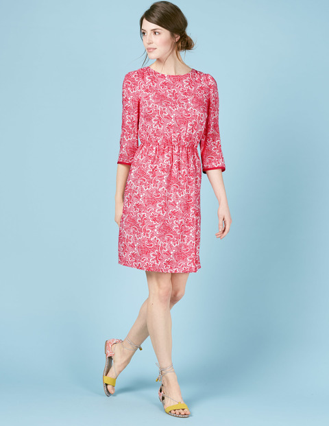 Dolly Summer Day Dress Ivory, Red Paisley - style: shift; predominant colour: pink; occasions: casual; length: just above the knee; fit: body skimming; fibres: viscose/rayon - 100%; neckline: crew; sleeve length: 3/4 length; sleeve style: standard; pattern type: fabric; pattern: florals; texture group: jersey - stretchy/drapey; season: s/s 2016; wardrobe: highlight