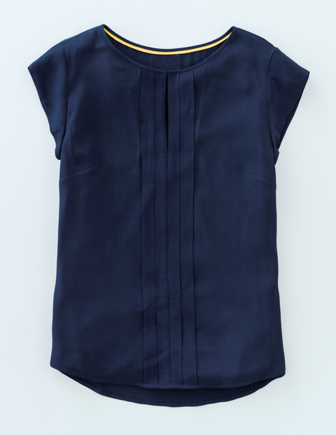 Pleat Front Top Navy Women, Navy - neckline: round neck; sleeve style: capped; pattern: plain; bust detail: subtle bust detail; predominant colour: navy; occasions: casual, creative work; length: standard; style: top; fibres: cotton - 100%; fit: body skimming; sleeve length: short sleeve; pattern type: fabric; texture group: other - light to midweight; season: s/s 2016; wardrobe: basic