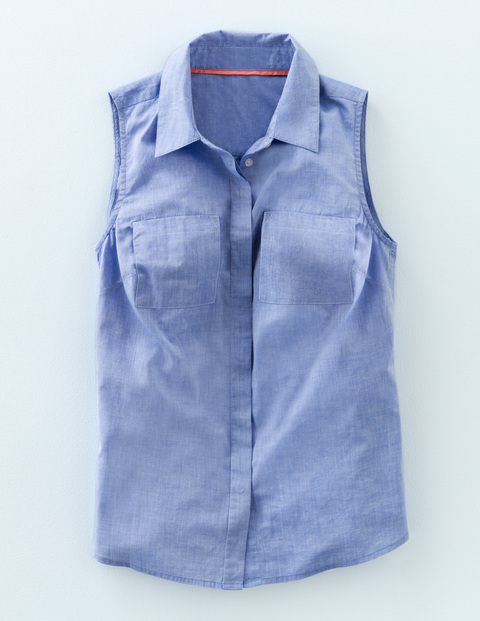 The Sleeveless Shirt Chambray Women, Chambray - neckline: shirt collar/peter pan/zip with opening; pattern: plain; sleeve style: sleeveless; style: shirt; bust detail: pocket detail at bust; predominant colour: pale blue; occasions: casual; length: standard; fibres: cotton - mix; fit: straight cut; sleeve length: sleeveless; texture group: cotton feel fabrics; pattern type: fabric; season: s/s 2016
