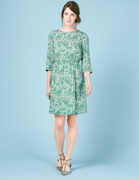Dolly Summer Day Dress Ivory, Green Paisley - style: shift; predominant colour: mint green; occasions: casual; length: just above the knee; fit: body skimming; fibres: viscose/rayon - 100%; neckline: crew; sleeve length: 3/4 length; sleeve style: standard; pattern type: fabric; pattern: florals; texture group: other - light to midweight; season: s/s 2016; wardrobe: highlight