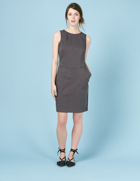 Chino Tunic Dress Pewter Women, Pewter - style: shift; fit: empire; pattern: plain; sleeve style: sleeveless; predominant colour: mid grey; occasions: evening; length: just above the knee; fibres: cotton - stretch; neckline: crew; sleeve length: sleeveless; pattern type: fabric; texture group: jersey - stretchy/drapey; season: s/s 2016; wardrobe: event