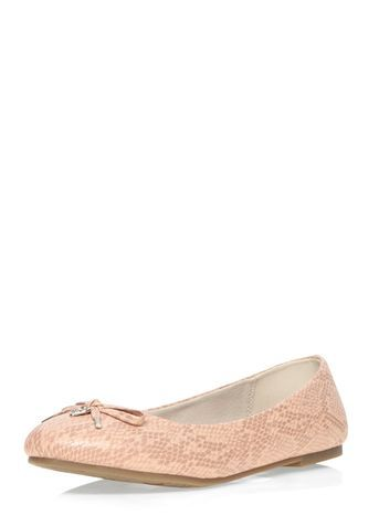 Pink Snake Print Ballerina Pump - predominant colour: nude; secondary colour: stone; occasions: casual, creative work; material: faux leather; heel height: flat; toe: round toe; style: ballerinas / pumps; finish: patent; pattern: animal print; embellishment: bow; season: s/s 2016; wardrobe: highlight