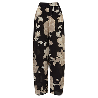 English Rose Silk Palazzo Trousers, Black - length: standard; style: palazzo; waist: high rise; secondary colour: stone; predominant colour: black; occasions: casual; fibres: silk - 100%; waist detail: narrow waistband; fit: wide leg; pattern type: fabric; pattern: florals; texture group: other - light to midweight; pattern size: big & busy (bottom); season: s/s 2016; wardrobe: highlight