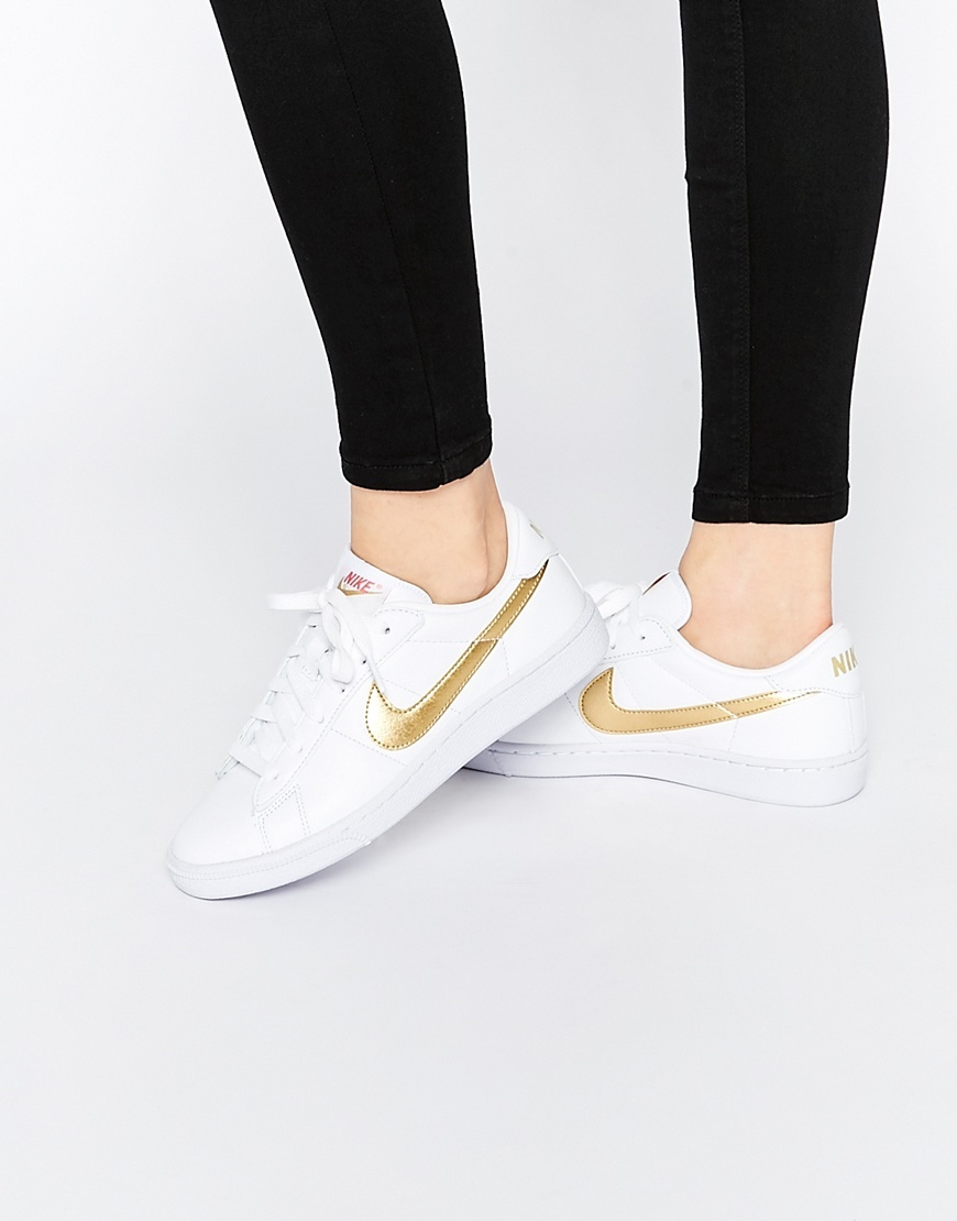 Classic White & Gold Metallic Swoosh Court Trainer White - predominant colour: white; occasions: casual, activity; material: leather; heel height: flat; toe: round toe; style: trainers; finish: plain; pattern: colourblock; season: s/s 2016