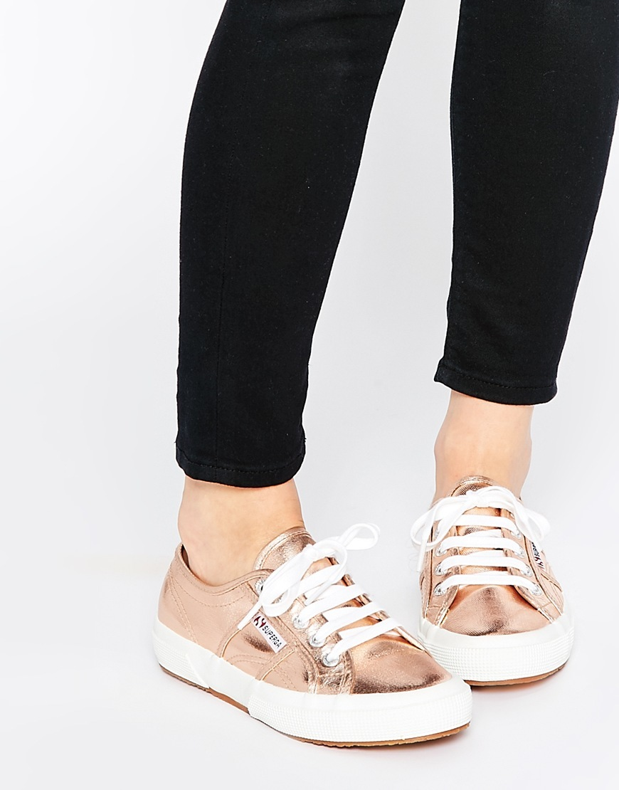 2750 Classic Rose Gold Plimsoll Trainers Rose Gold - secondary colour: white; predominant colour: gold; occasions: casual; material: faux leather; heel height: flat; toe: round toe; style: trainers; finish: metallic; pattern: plain; season: s/s 2016; wardrobe: basic