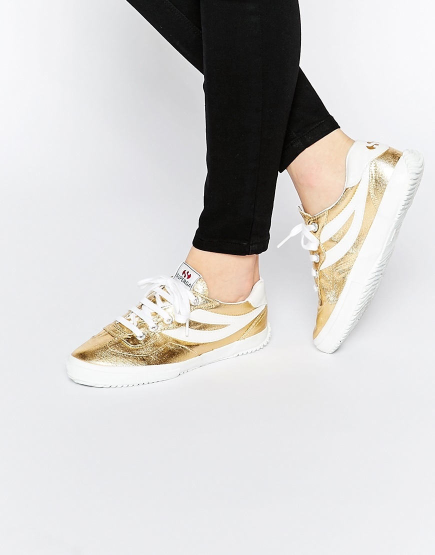 2832 Gold Trainers Gold - secondary colour: white; predominant colour: gold; occasions: casual; material: leather; heel height: flat; toe: round toe; style: trainers; finish: metallic; pattern: colourblock; shoe detail: moulded soul; season: s/s 2016; wardrobe: highlight