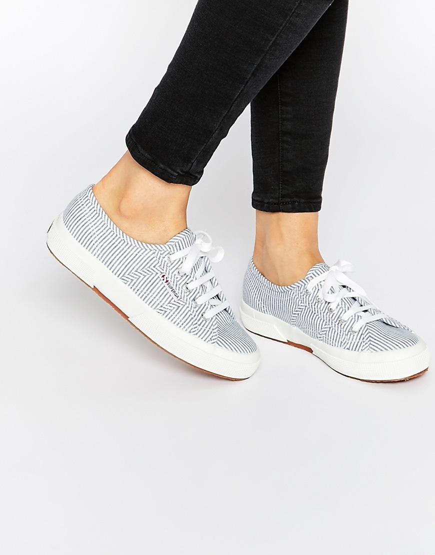 2750 Blue Stripe Plimsoll Trainers Blue Stripe - predominant colour: pale blue; occasions: casual; material: fabric; heel height: flat; toe: round toe; style: trainers; finish: plain; pattern: striped; season: s/s 2016; wardrobe: highlight
