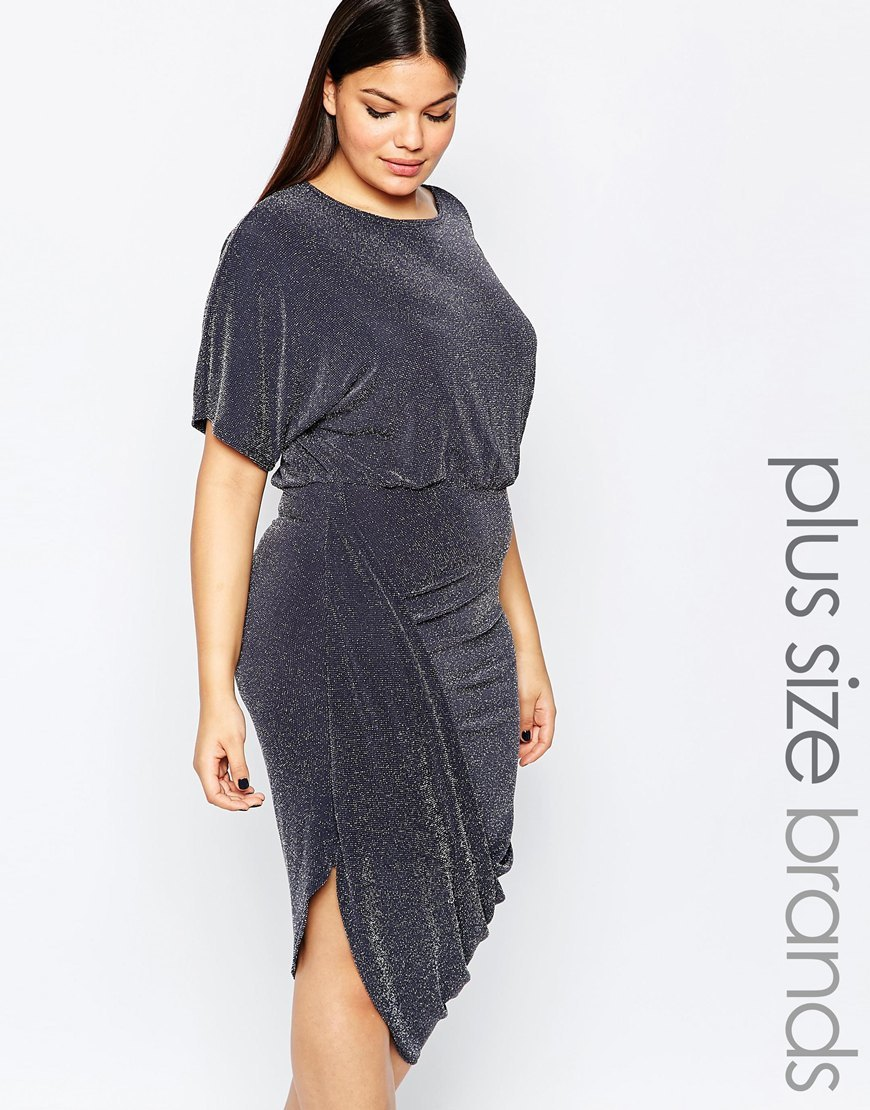 Plus Wrap Dress With Rouched Skirt In Glitter Fabric Slate Grey - pattern: plain; predominant colour: charcoal; occasions: evening; length: on the knee; fit: body skimming; style: asymmetric (hem); fibres: polyester/polyamide - stretch; neckline: crew; sleeve length: half sleeve; sleeve style: standard; pattern type: fabric; texture group: jersey - stretchy/drapey; season: s/s 2016; wardrobe: event