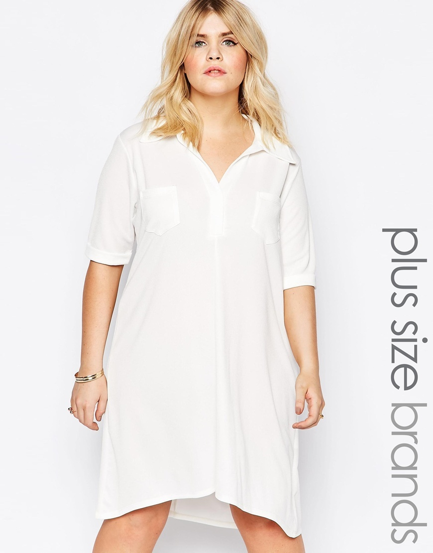 Shirt Dress With Mock Pocket Detail White - style: shirt; neckline: shirt collar/peter pan/zip with opening; fit: loose; pattern: plain; predominant colour: white; occasions: casual, creative work; length: just above the knee; fibres: polyester/polyamide - stretch; sleeve length: half sleeve; sleeve style: standard; texture group: cotton feel fabrics; pattern type: fabric; season: s/s 2016; wardrobe: basic