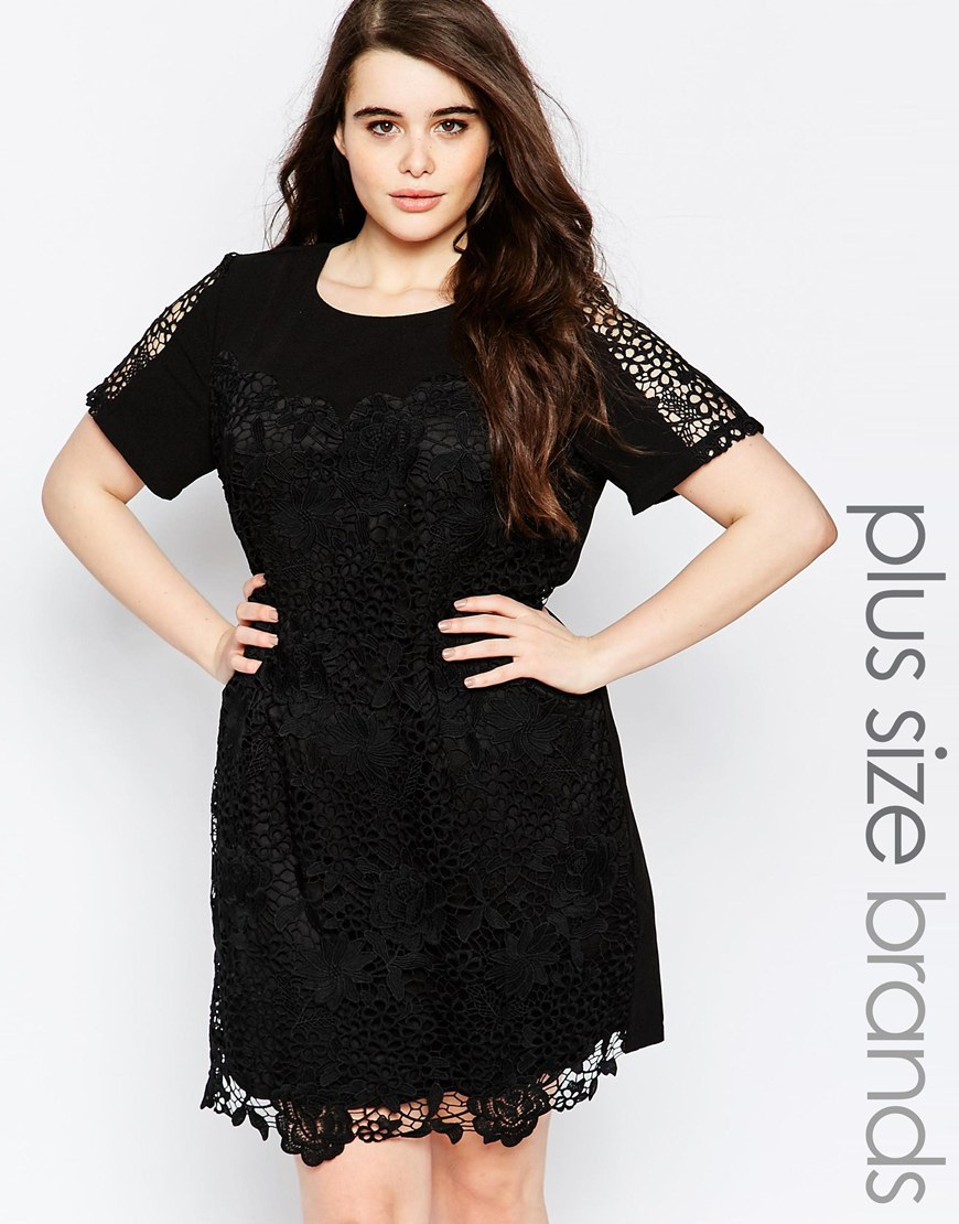 Plus Shift Dress In Lace Black - style: shift; pattern: plain; predominant colour: black; occasions: evening; length: just above the knee; fit: body skimming; fibres: polyester/polyamide - 100%; neckline: crew; sleeve length: short sleeve; sleeve style: standard; texture group: lace; pattern type: fabric; embellishment: lace; season: s/s 2016; wardrobe: event